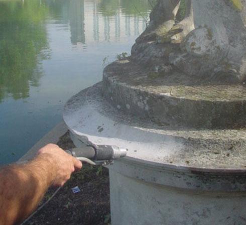 décapage statue en pierre par aérogommage Maxi topolino 18 d'ACF